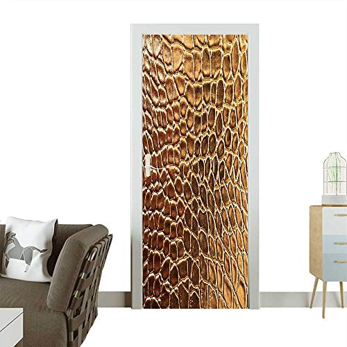 Homesonne Door Sticker Wallpaper Tint Golden Crocodile Skin Nature Life Toughness High End Design Artwork Gold Fashion and Various patternW36 x H79 INCH ()