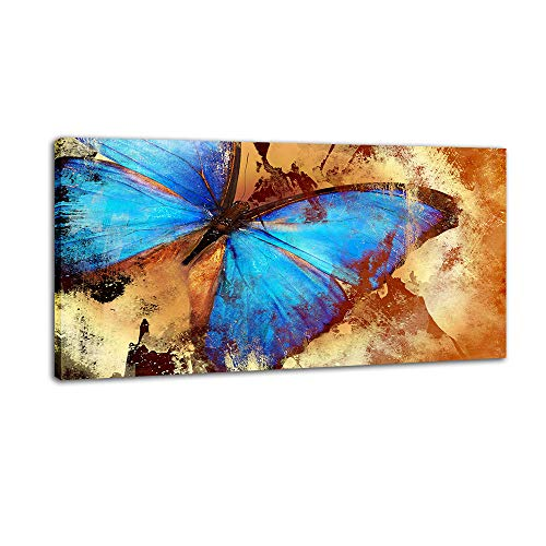 DINGDONG ART Abstract Blue Butterfly Poster Prints HD Giclee Animal Canvas Wall Art Painting Framed Pictures for Living Room Home Decor 1 Pcs (24