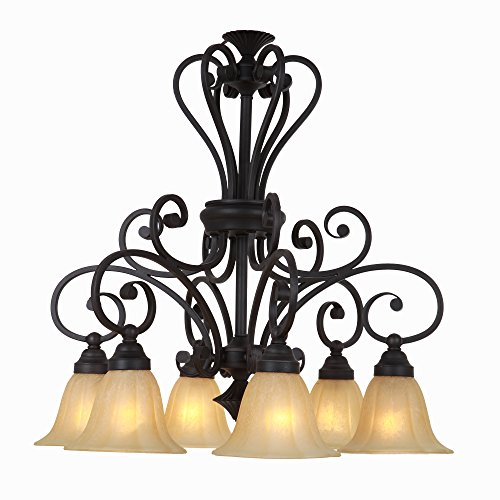 Yosemite Home Décor 95836R-6SS Florence Collection Six Light Chandelier, Sierra Slate