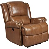 Mega Motion Saddle Brown Leather Recliner with Power Recline (curbside delivery)