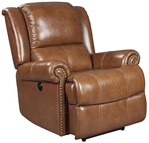 Windermere Saddle Brown Leather Recliner with Power Recline (curbside (Saddle Leather Recliner)