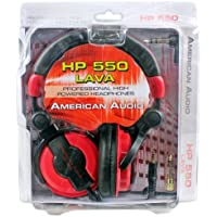 American Audio HP550 Lava Red/Black Over-the-Ear High-Powered DJ Headphones Includes An Extra Set Of Earpads