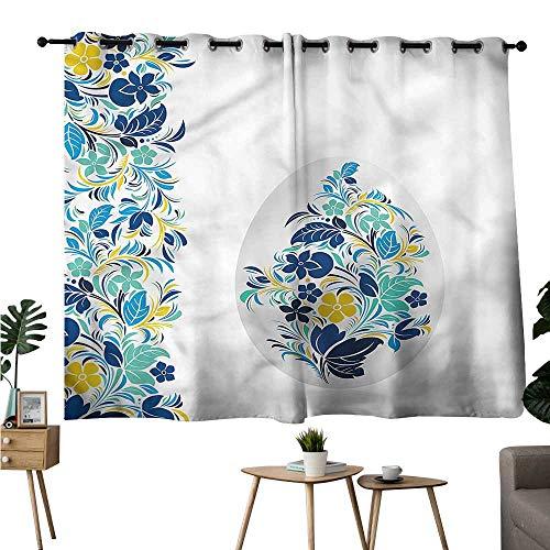 Beihai1Sun Room Darkening Curtains Grommet Curtain Kitchen Window Easter,April Spring Festival Floral Darkening/Blackout W108 x -