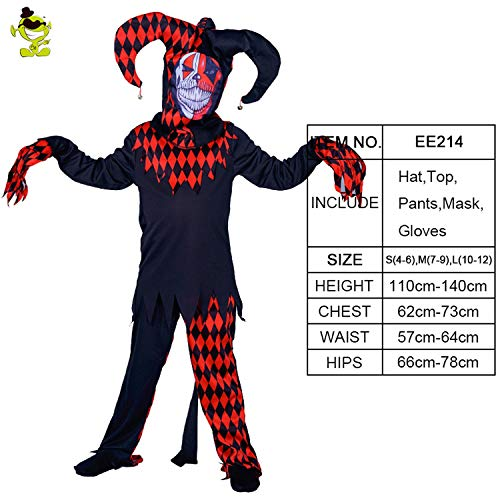 Costumes Boys Scary Clown Killer Role Play Outfit Party Masquerade Halloween Party Scary Clown Suit,EE214,S ()