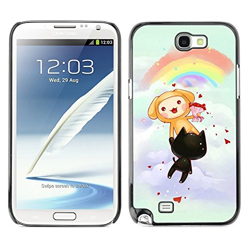 Soft Silicone Rubber Case Hard Cover Protective Accessory Compatible with SAMSUNG GALAXY NOTE 2 & N7100 - Cute Rainbow Cats Party