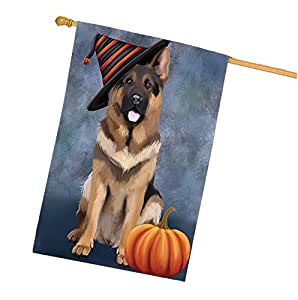 Happy Halloween German Shepherds Dog Wearing Witch Hat with Pumpkin House Flag