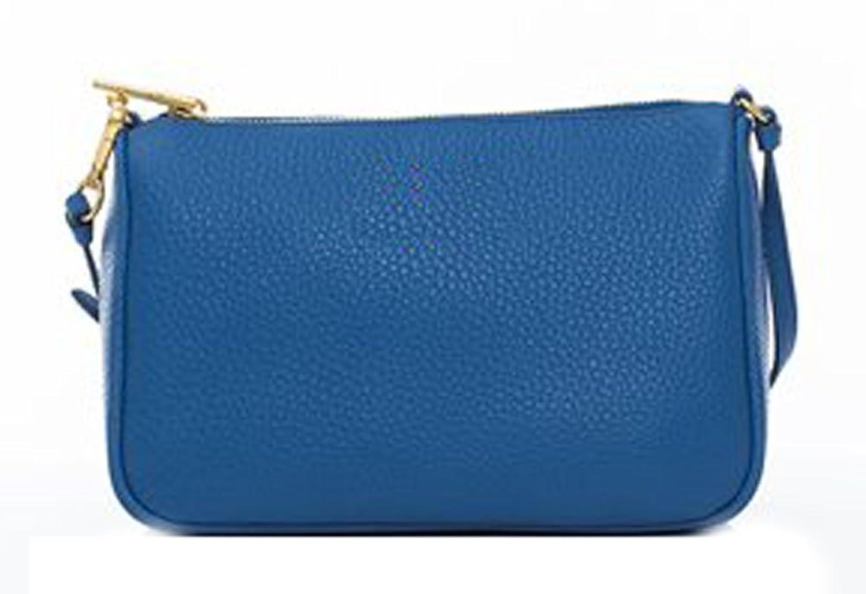 SZSYHWD Women's Solid Color Blue Leather Handbag