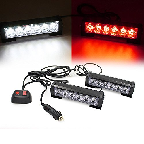 (LEAGUE&CO 2 X 6 LED 9 Modes Car Truck Vehicle Emergency Hazard Warning Strobe Flash Lights For Interior Roof/Dash/Windshield/Grille/Deck (White/Red))