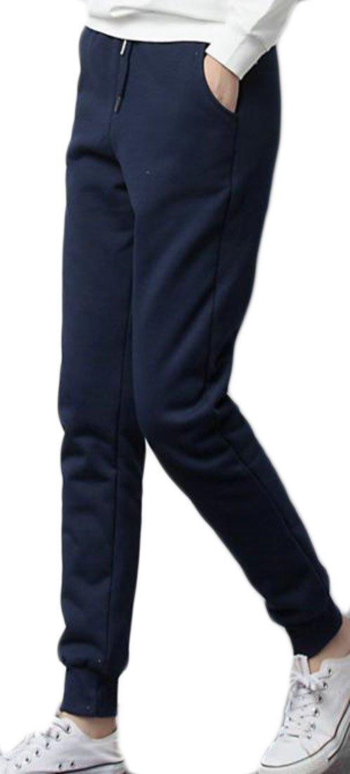 Cromoncent Womens' Fleece Padded Drawstring Elastic Sports Jogger Pants Jewelry Blue s