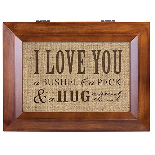 I Love You A Bushel & A Peck Wood Finish Jewelry Music Box - Plays Tune You Are My Sunshine by Cottage Garden (Image #1)