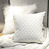 Decorative Pillow Cover - PHANTOSCOPE Decorative Off-white Fur & Hand-made Crochet Luxury Throw Pillow Covers 18 x 18 inch 45 x 45 cm Set of 2