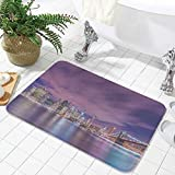 YOLIYANA Non-Slip Mat,Modern,for Bathroom Kitchen Bedroom,19.69' x31.5'',New York City Skyline at Night