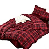 CLOTHKNOW Full/Queen Duvet Cover Plaid Red Luxury Grid Pattern Bedding Set for Kids Women Girls Geometric Pattern Brushed Cotton 3 Pieces - 1 Duvet Cover + 2 Pillow Shams NO Comforter