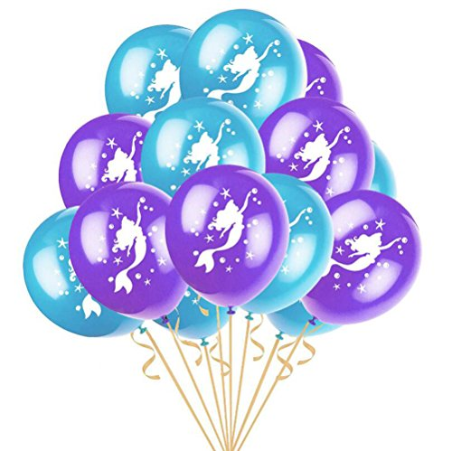 Mermaid Party Balloons Purple and Blue Ballons Printed with Cute Mermaid for Sea Theme Birthday Party Decoration Supplier (12 Pack)