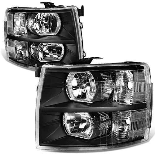 Chevy Silverado 2nd Gen GMT900 Pair Black Housing Clear Corner 2-PC Headlight Lamps