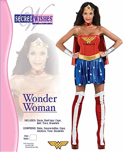 Secret Wishes Deluxe Wonder Woman Costume, Blue/Red, Large