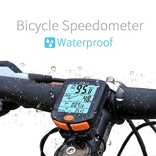 Bicycle Speedometer Bike Computer Wired Cycling Odometer Waterproof Electric Odometer Multi-Function Bicycle Speedometer for Mountain Bike Spin Bike Indoor/Outdoor Exerciser (Best Spin Bike With Power Meter)