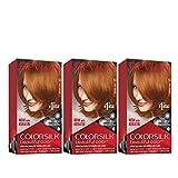 Revlon Colorsilk Beautiful Color, Permanent Hair Dye with Keratin, 100% Gray Coverage, Ammonia Free, 53 Light Auburn (Pack of 3)