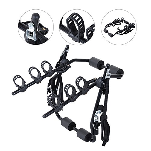 Outsunny 3 Bike Rear Hitch Mount Carry Rack Car Truck Carrier w/Fix Strap -...
