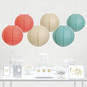 Andaz Press Hanging Paper Lantern Party Decor Trio Kit with Free Party Sign, Ivory, Coral, Diamond Blue, 6-Pack, For Peach Mint Baby Bridal Shower Decorations