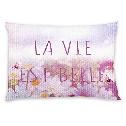 FavorPlus Pillowcase Cotton Linen LA Vie EST Belle Flower Pillow Cases pillowslip Design Bedroom Sofa Pillow Sham 16X24 inches (Two Sides)