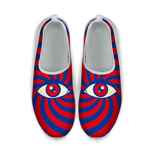 Voor U Ontwerpen Grappige Multicolor Grote Ogen Streep Print Fashion Sneaker Ademend Slip Loafers Voor Dames Rood Blauw Dames