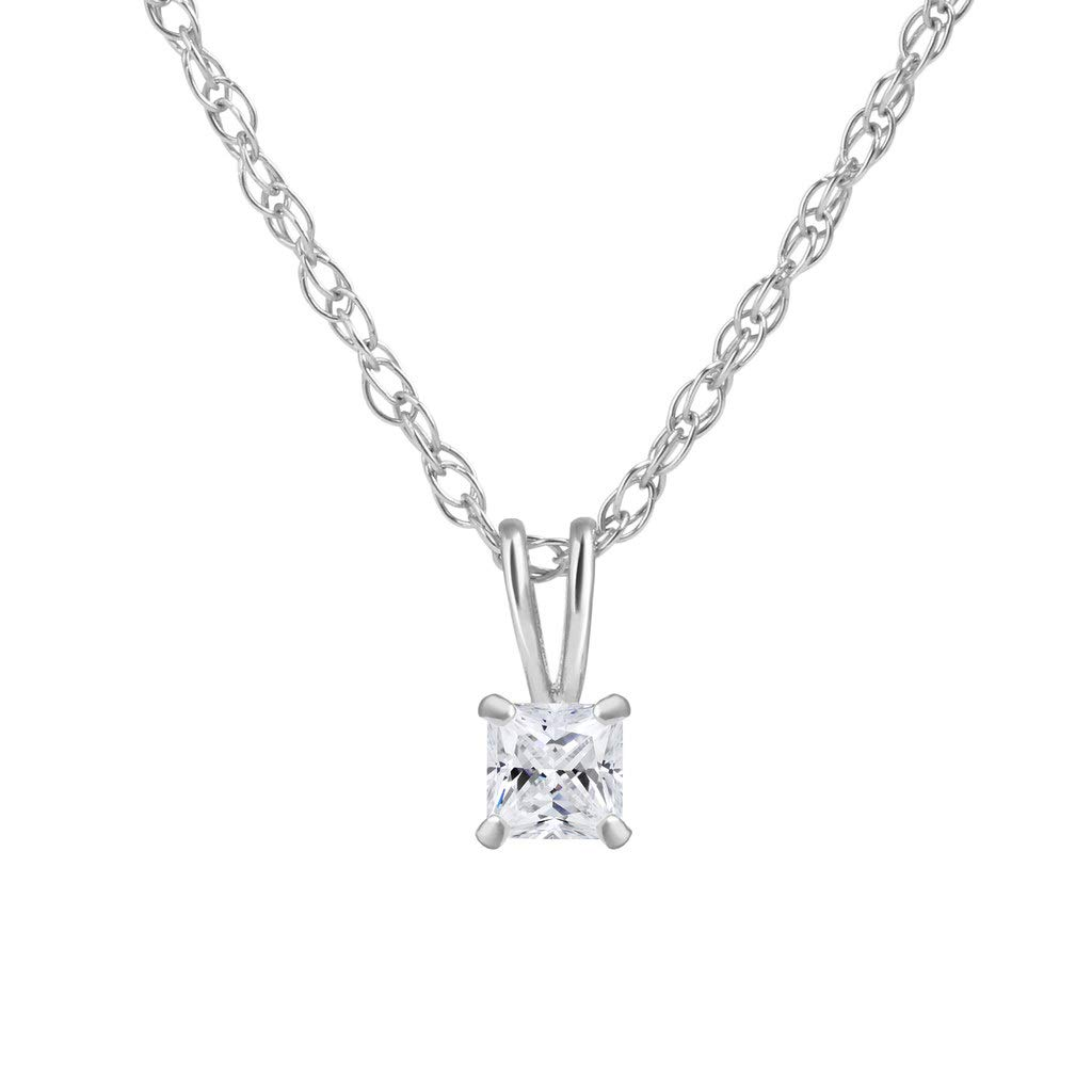14K Gold Crystal Clear Round CZ Solitaire Pendant In Real Yellow Rose /& White Gold with an 16 to 18 inch Adjustable Chain SOLIDGOLD