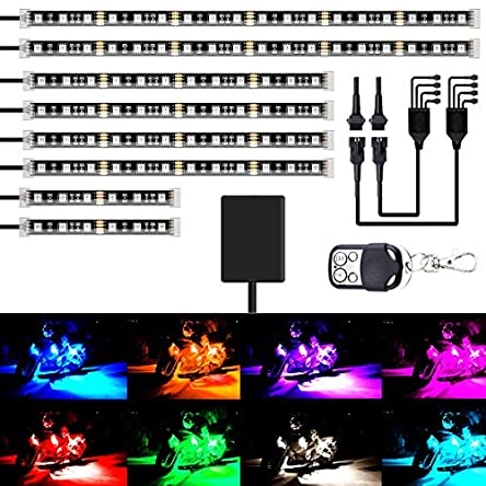 AMBOTHER 8Pcs Motorcycle LED Light Kits Strips DC 12-Volt...