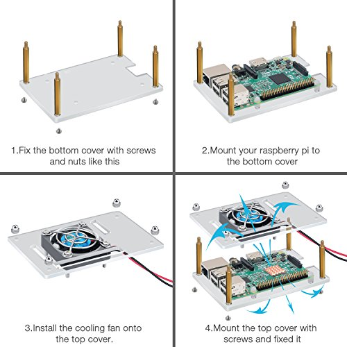Raspberry Pi 3 Case Acrylic Protective Cover & Cooling Fan & Micro USB Power Supply 5V 2.5A With 3PCS Copper Heatsink 4 in 1 Professional Kit for Raspberry Pi by OBDOK (Image #2)