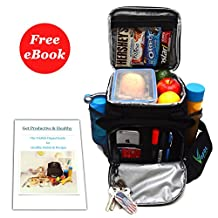 Insulated Lunch Bag for Men and Women by Vapos, Lunch Box for Adults and Kids, Sturdy Cooler with Multifunctional Front Pocket, Heavy Duty Zippers and Superior Insulation + E-book