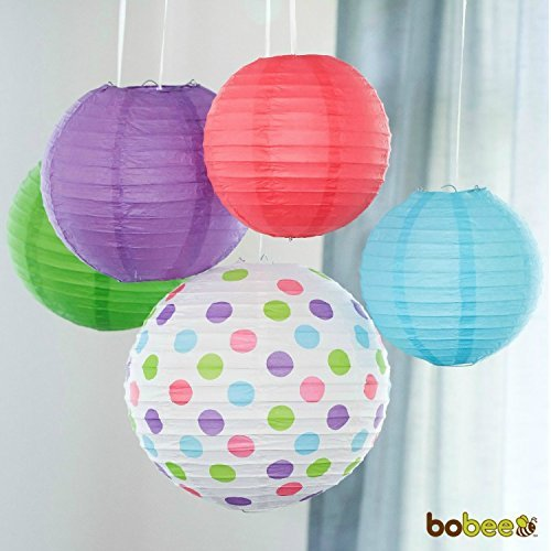 Bobee Paper Lanterns for Birthday Party Baby Bridal Shower Decorations, Nursery Bedroom Girls Room Decor, 5-pack