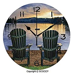 SCOCICI 10 Inch Round Face Silent Wall Clock Two Wooden Chairs On Relaxing Lakeside at Sunset Algonquin Provincial Park Canada Unique Contemporary Home and Office Decor