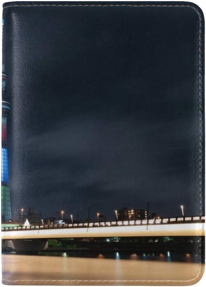 Tower Bridge Buildings Leather Passport Holder Cover Case Travel One Pocket