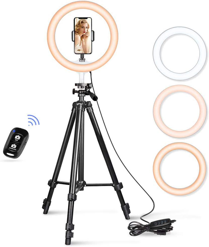 """10.2"""" Selfie Ring Light, Aureday 50"""" Extendable Tripod Stand with Phone Holder for Makeup & YouTube Live Stream, Dimmable LED Lightning with Remote, Compatible with iPhone & Android Phone"""