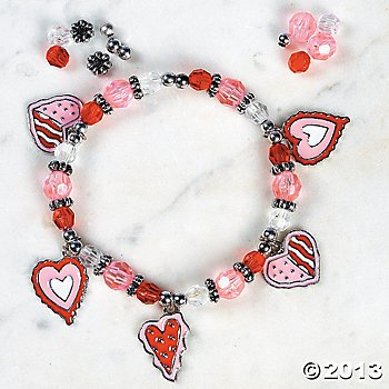 12 Valentine HEART CHARM Bracelet KITS/Craft/Girl's JEWELRY Making/SCOUTS/Party Activity by OTC