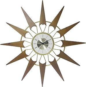 Infinity Instruments Nova Starburst Gold Wall Clock Vintage Mid Century Starburst Clock 31 inch Extra Large 50s 60s Mid Century Modern Decor Wall Hanging Sunburst Clock, Gold, Brown