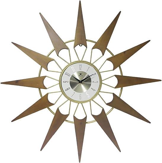 Nova Starburst Gold Wall Clock Vintage Mid Century Starburst Clock 31 inch Extra Large 50s 60s Mid Century Modern Decor Wall Hanging Sunburst Clock
