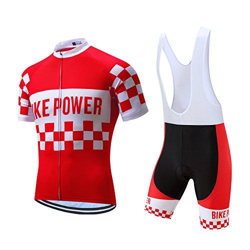 Coconut Ropamo Men's Cycling Jersey Set Road Bike Jersye Short Sleeves Cycling Kits + Bib Shorts with 3D Padded (Small, Red/White) Bike Shorts Kit