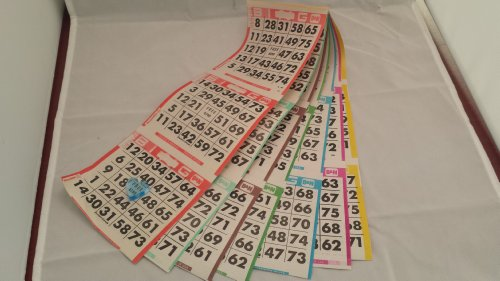 Bingo Paper Game Cards - 6 cards - 7 sheets - 125 books - 8 Inch by 12 Inch Size Disposable Sheet - Made in USA - Bingo Cards 6 Games