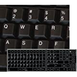 REPLACEMENT ENGLISH US KEYBOARD STICKER BLACK BACKGROUND