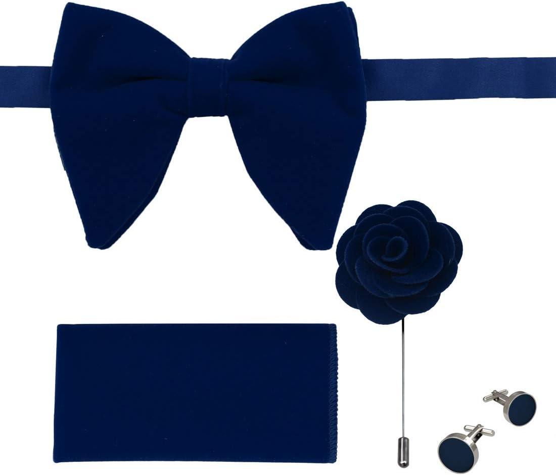 Dan Smith C.C.O.T.010 Midnight Blue Oversized Bowtie Set Party Velvet Brooch Pocket Square Cufflinks Set