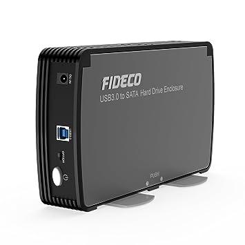 Carcasa Disco Duro Externo, FIDECO Caja Disco Duro USB 3.0 con OTB para 2.5 Pulgadas y 3.5 Pulgadas para HDD SSD SATA, Ventilador Incorporado