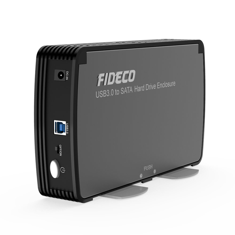 FIDECO 3.5'' Hard Drive Enclosure, USB 3.0 to SATA Aluminium External Hard HDD Case with Built-in Cooling Fan Support UASP and 10TB Drives for 3.5/2.5 Inch HDD SSD Tool-Free (3.5 Hard Drive Enclosure)