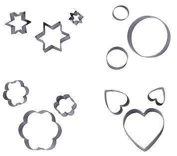nelpla cocina Metal moldes para galletas y fondant moldes para pastas, diseño de 3 estrellas, 3 Flores Forma, 3 forma redonda, 3 corazones forma: Amazon.es: ...