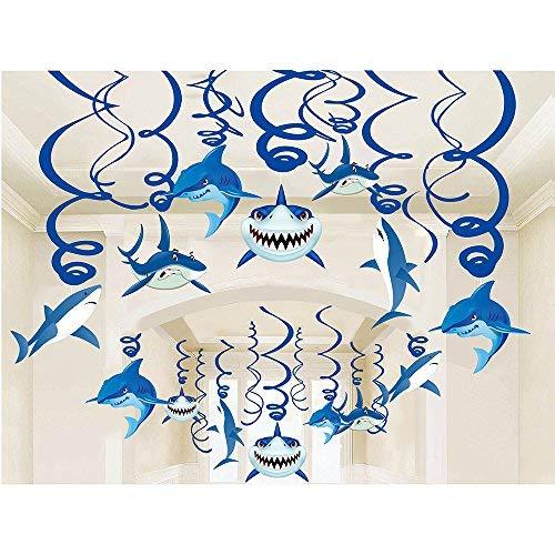 Shark Party Supplies Summer Hanging Swirls - Sea/Sharknado/Kids Birthday Decorations Splash Ceiling Foil Ornaments(30 PCS) -