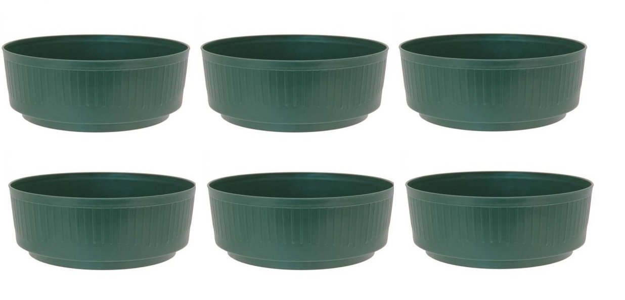 APAC 6 x Green Medium 20.5cm Round Plastic Garden Bulb Bowl Storage Grow Tub