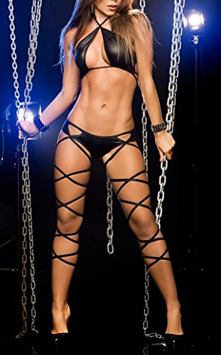 Donna Underwear personalità Tentazione Paplan Pigiama Nero Hollow Leggings Set AZxwqg7H