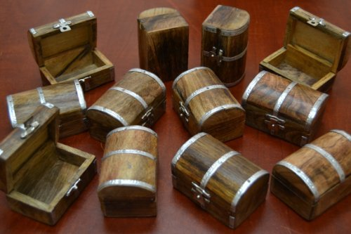 12 Pcs Pirate Treasure Chest Jewelry Trinket Wood Box