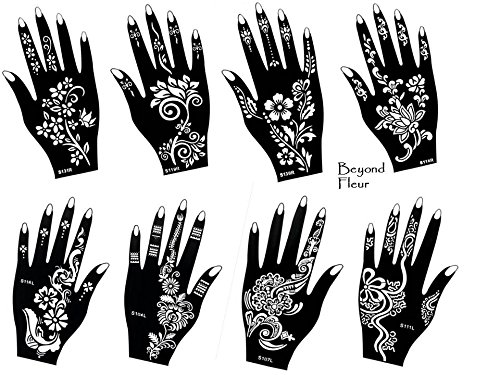 tattoo stencil template 8 different sheet set fleur pretty. Black Bedroom Furniture Sets. Home Design Ideas