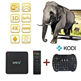 HONGTOP® M9X Smart TV Box Amlogic S905 Quad Core Android Chipset Kodi 16.0 Full Loaded Android 5.1 Lollipop OS TV Box Quad Core 4K Streaming Media Players with Wi-Fi HDMI DLNA with I8 Mini Wireless Keyobard(3G+32G)